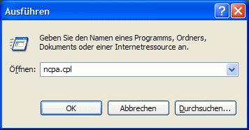 Windows XP ncpa.cpl aufrufen