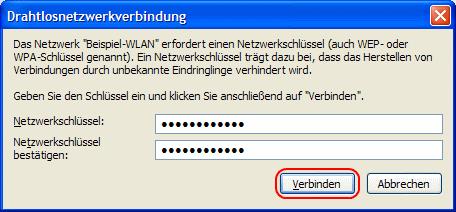 Windows XP Netzwerkschlüssel bestätigen