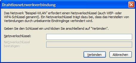 Windows XP Netzwerkschlüssel