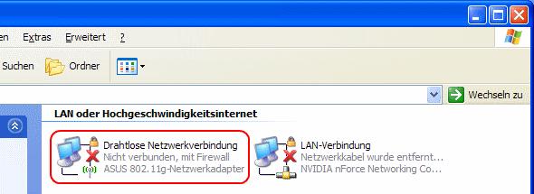 Windows XP Übersicht der Netzwerkverbindungen WLAN