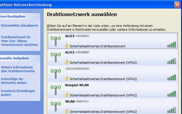Windows XP Übersicht verfügbarer WLANs