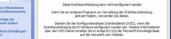 Windows XP WLAN kann nicht konfiguriert werden