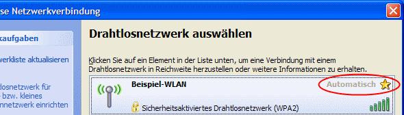 Windows XP WLAN Kennwort falsch