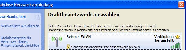 Windows XP WLAN Verbindung hergestellt