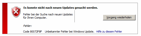 Windows 7 Update Fehlercode 80072F8F