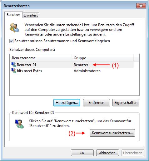 Windows 7 Benutzerkonten