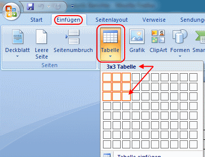 Word 2007 Tabelle anlegen