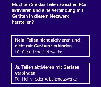 Windows 8 Teilen aktivieren