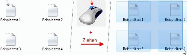 Beispiel Linksklick und Ziehen