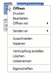 Maus Rechtsklick Kontextmenü Textdatei