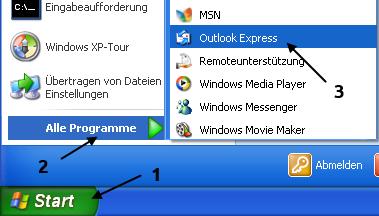 Outlook Express starten