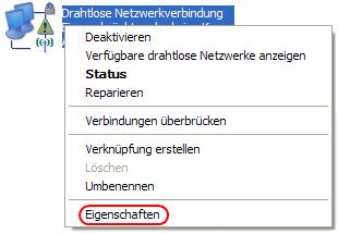 Windows XP Eigenschaften der WLAN-Verbindung anzeigen