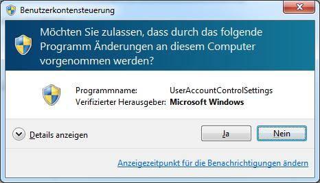 Windows 7 Benutzerkontensteuerung
