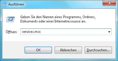 Windows 7 Diensteverwaltung aufrufen