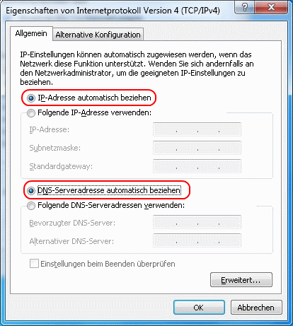 Windows 7 Eigenschaften von Internetprotokoll Version 4 (TCP/IPv4)