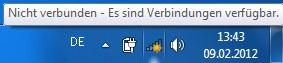 Windows 7 Netzwerksymbol WLAN Es sind Verbindungen verfügbar
