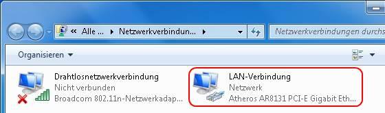 Windows 7 Netzwerkverbindungen LAN
