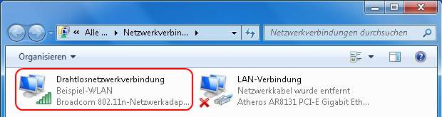 Windows 7 Netzwerkverbindungen WLAN