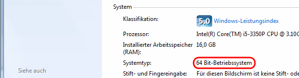 Windows 7 Systemtyp