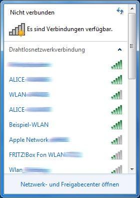 Windows 7 Liste der verfügbaren Drahtlosnetzwerkverbindungen