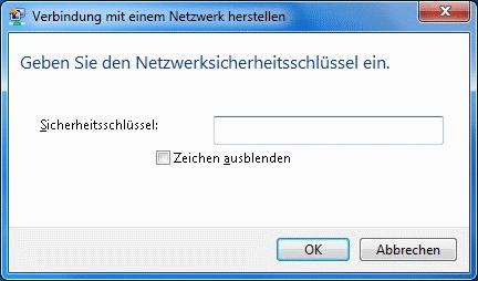 Windows 7 WLAN Kennwort eingeben