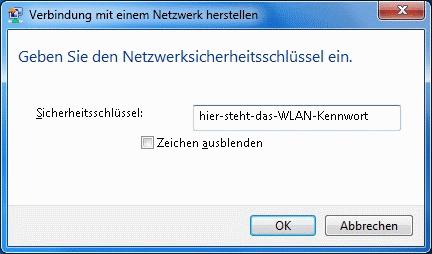 Windows 7 WLAN Kennwort sichtbar