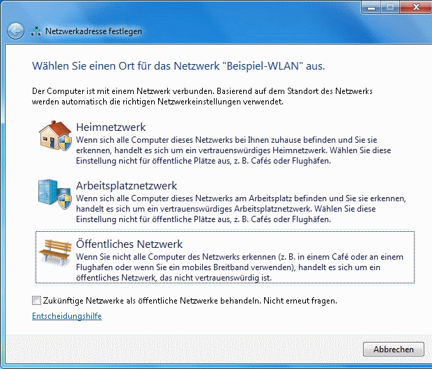 Windows 7 WLAN Netzwerkadresse festlegen
