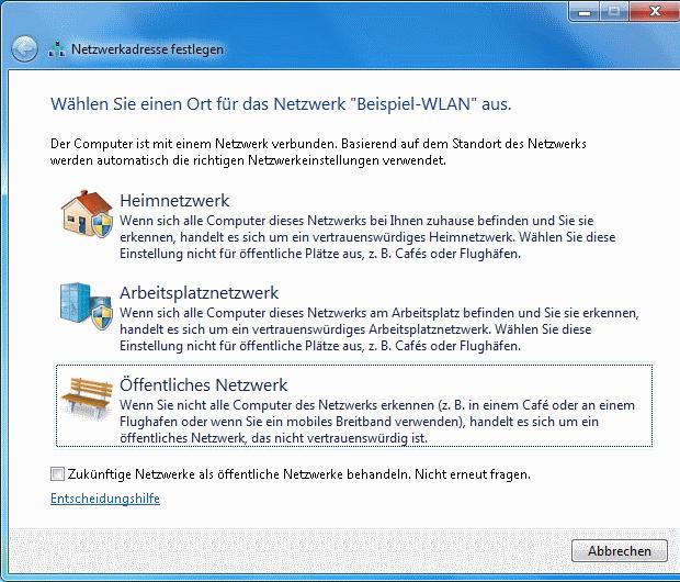 Windows 7 WLAN Netzwerkadresse festlegen