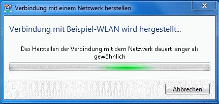 Windows 7 WLAN Herstellen der Verbindung dauert länger als gewöhnlich