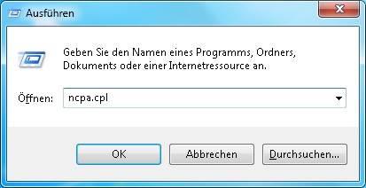 Windows 7 Netzwerkverbindungen aufrufen