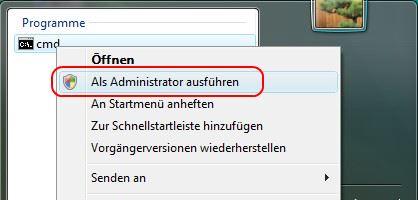 Windows 7 und Vista Eingabeaufforderung aufrufen 2