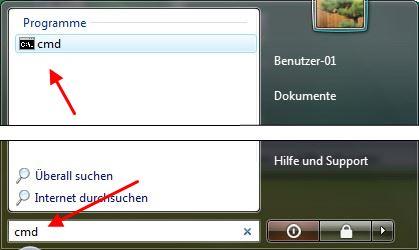 Windows 7 und Vista Eingabeaufforderung aufrufen