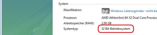 Windows Vista Systemtyp
