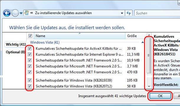 Windows Vista Auswahl einzelner Updates