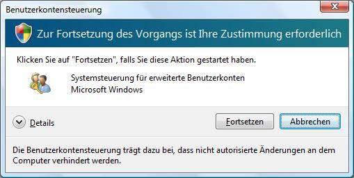 Windows Vista Benutzerkontensteuerung