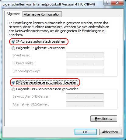 Windows Vista Eigenschaften von Internetprotokoll Version 4 (TCP/IPv4)