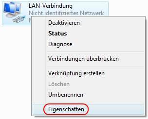Windows Vista LAN-Verbindung Eigenschaften aufrufen