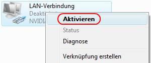 Windows Vista LAN-Verbindung aktivieren