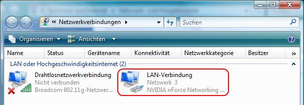Windows Vista Netzwerkverbindungen LAN