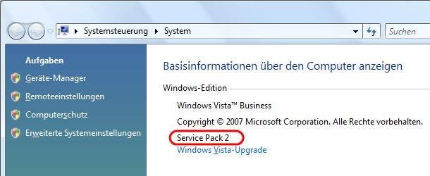 Windows Vista Service Pack in den Systemeigenschaften prüfen