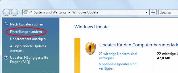 Windows Vista Update Einstellungen ändern