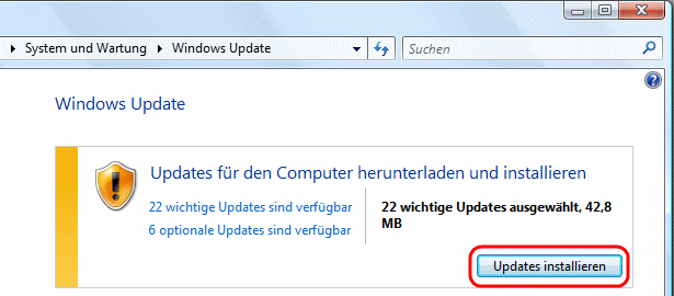 Windows Vista Updates installieren