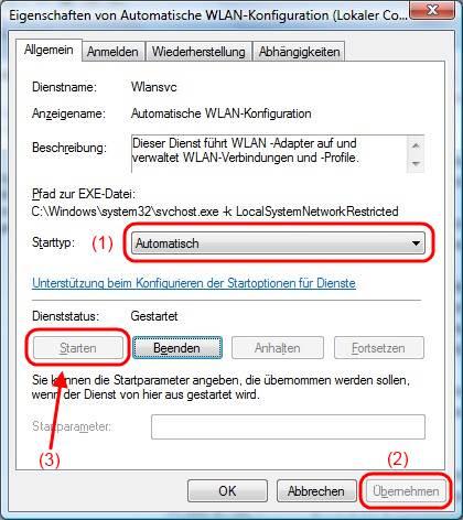 Windows Vista Dienst für die automatische WLAN-Konfiguration starten