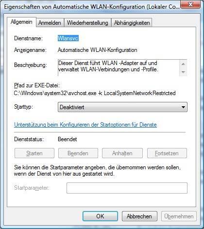 Windows Vista WLAN-Dienst deaktiviert