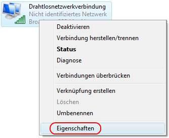 Windows Vista Eigenschaften der Drahtlosnetzwerkverbindung aufrufen