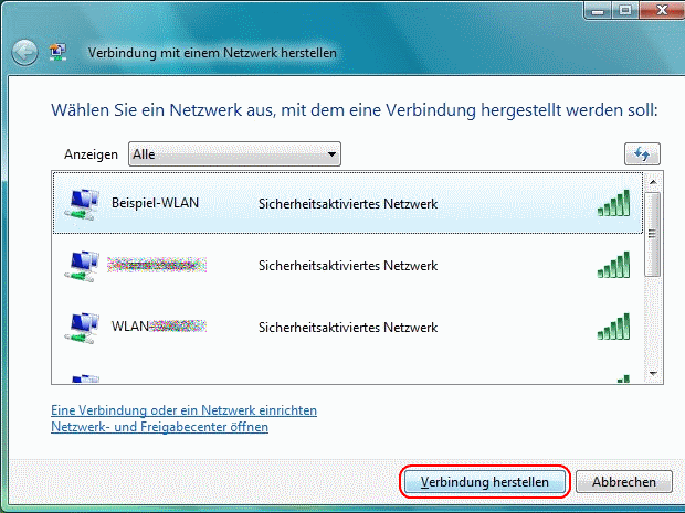 Windows Vista WLAN einrichten