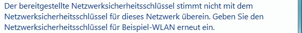 Windows Vista falsches WLAN-Kennwort