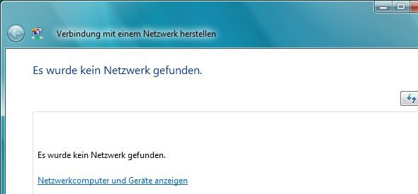 Windows Vista kein Netzwerk gefunden