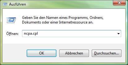 Windows Vista ncpa.cpl aufrufen