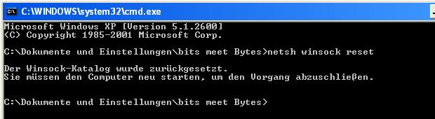 Windows Winsock-Katalog zurücksetzen